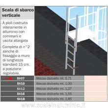 Scala di sbarco verticale 0,71 mt. per scale modulari con gabbia di protezione
