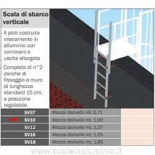 Scala di sbarco verticale 1 mt. per scale modulari con gabbia di protezione