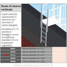 Scala di sbarco verticale 1,27 mt. per scale modulari con gabbia di protezione
