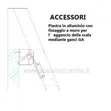 Scala per soppalchi in alluminio 600 mm 14 gradini senza prolunga - accessori: piastra di fissaggio al muro
