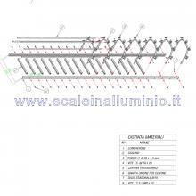 Scale con gabbia di protezione in acciaio disegno tecnico