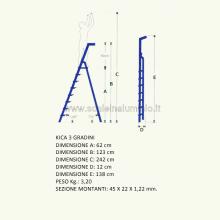scale in alluminio Kicca 3 gradini misure