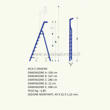 scale in alluminio Kicca 5 gradini misure
