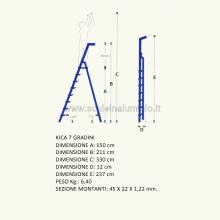 scale in alluminio Kicca 7 gradini misure