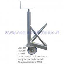 Scala in alluminio semiverticale su ruote 3 x 14 gradini - base su livellatori a vite su ruota