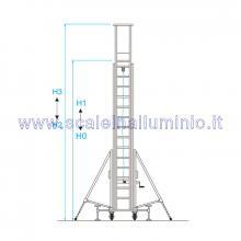 Scala in alluminio verticale con base e piano di lavoro allungabile con argano 2 x 14 - misure