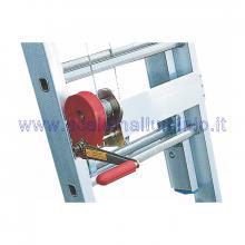 Scala in alluminio verticale con base e piano di lavoro allungabile con argano 2 x 14 - argano professionale con frizione salita-discesa