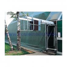 Scala in alluminio verticale con base e piano di lavoro allungabile con argano 2 x 14 - ripiegata per il passaggio attraverso le porte