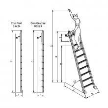 Scale scorrevoli su ruote scorrimento frontale 8 gradini misure