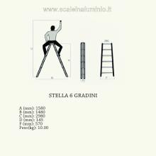 Scala stella 6 gradini scale in alluminio disegno