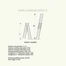 Scala componibile professionale in alluminio 2 rampe 11 gradini misure