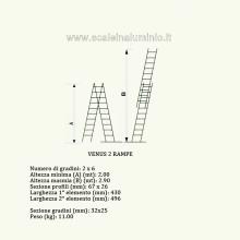Scala componibile professionale in alluminio 2 rampe 6 gradini misure