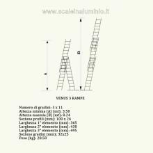 Scala componibile professionale in alluminio 3 rampe 11 gradini misure