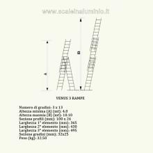 Scala componibile professionale in alluminio 3 rampe 13 gradini misure