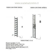 Scala in alluminio con fune professionale 2 x 16 gradini misure