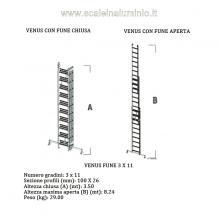Scala in alluminio con fune professionale 3 rampe x 11 gradini misure