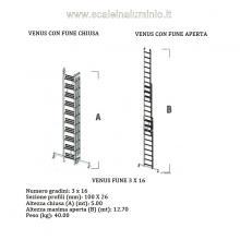 Scala in alluminio con fune professionale 3 rampe x 16 gradini misure